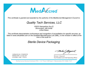 Certificate of accreditation in Sterile Device Packaging from MedAccred